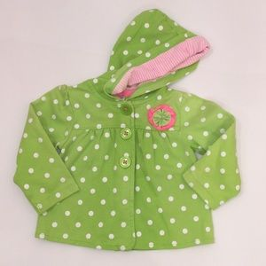 18 mo  Baby Girl Button Jacket Hoodie Green Pink